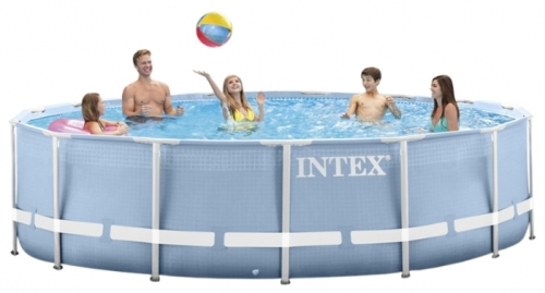 28728 Каркасный бассейн Intex Prism Frame Pool (457 х 84 см) + фильтрующий картриджный насос + аксессуары