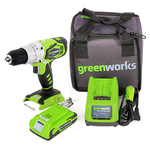 Шуруповерт ударный аккумуляторный Greenworks , 24V, c 1хАКБ 2 А.ч. и ЗУ(0,5 А) + Сумка