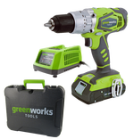 Дрель-шуруповерт ударная аккумуляторая Greenworks, 24V, с 1хАКБ 2 А.ч. и ЗУ в кейсе